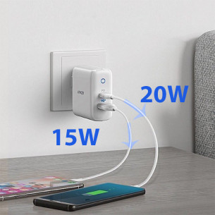 Anker PowerPort PD 2 Port 35W Charger - White