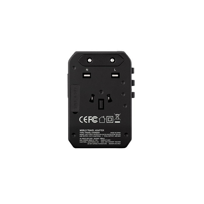 Momax 1-World AC Travel Adapter (Type-C PD + 3 USB-A) DarkGray