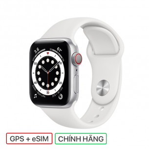Apple Watch Series 6 GPS+Cellular 40MM Silver Aluminum Case With White Sport Band