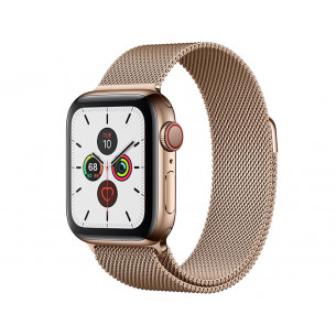 Apple Watch Series 5 44mm GPS+Cellular Gold Stainless Steel Case with Gold Milanese Loop